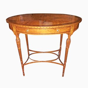 Antique English Oval Inlaid Coffee Table