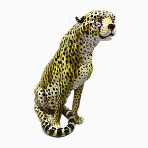 Large Italian Terracotta Cheetah Sculpture, 1960s