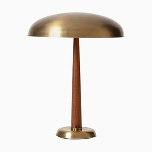 Swedish Brass and Oak Table Lamp, 1940s
