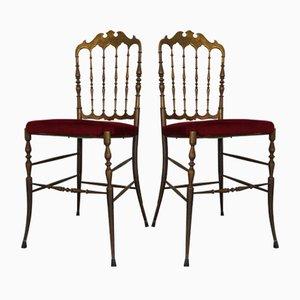 Sedie vintage in ottone e velluto rosso di Chiavari, anni '50, set di 2