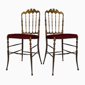 Vintage Red Velvet Brass Chairs from Chiavari, 1950s, Set of 2