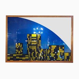 Farbiger Spiegel mit Holzrahmen, 1980er