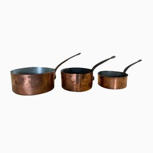 19th Century French Copper Saucepans, Set of 3