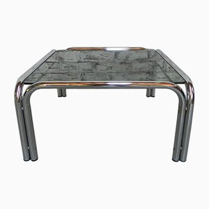 Chrome-Plated Coffee Table with Smoked Glass Top, 1970s