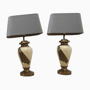Große Italienische Lackierte Tischlampen aus Messing & Elfenbein, 1970er, 2er Set