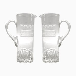 Art Deco Glass Pitchers, 1930s, Set of 2