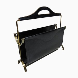 Black Leather and Brass Magazine Rack, 1950s
