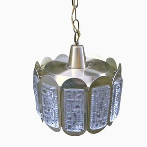 Danish Brass and Crystal Glass Pendant Light
