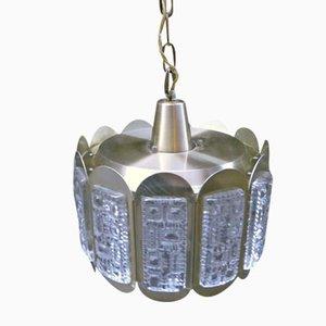 Luz colgante danesa de latón y cristal