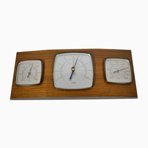 Vintage Teak Weather Station Thermometer Barometer and Hygrometer, 1960s