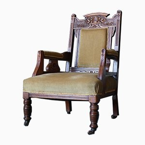 Antique Edwardian Carved Low Slung Chair