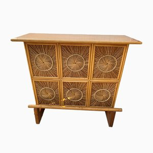 Mid-Century Wooden and Rattan Bar Table