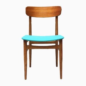 Mid-Century Scandinavian Teak and Light Blue Skai Chairs, 1960s, Set of 4