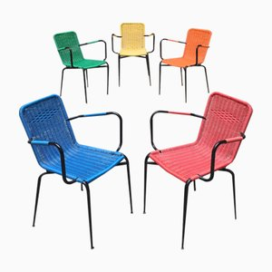 Italian Scooby and Steel Stacking Outdoor Chairs, 1960s, Set of 5