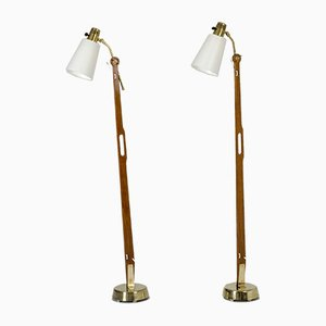 Teak and Brass Floor Lamps by Hans Bergström for Ateljé Lyktan, 1950s, Set of 2