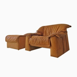 Cognac Leather Sofa and Ottoman Set, 1970s