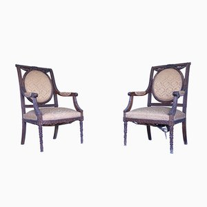 Antique Lounge Chairs, Set of 2