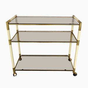 Vintage Italian Brass and Lacquer Trolley by Tommaso Barbi, 1970s