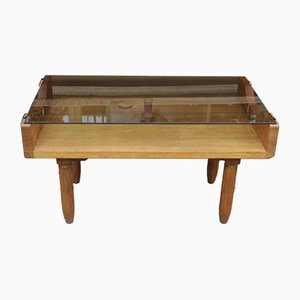 Oak Coffee Table with Smoked Glass Top, 1950s