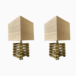 Italian Brass Table Lamps by Gaetano Sciolari, 1970s, Set of 2