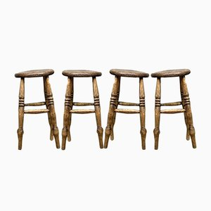 Antique Victorian Elm Stools, Set of 4