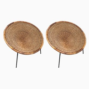 Italian Rattan Basket Armchairs, 1950s, Set of 2