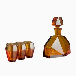 Art Deco Amber Glass Decanter and Glasses Set, 1930s, Set of 7