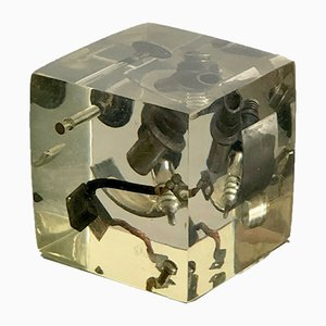 Vintage Decorative Cube with Mechanical Elements by Pierre Giraudon, 1970s