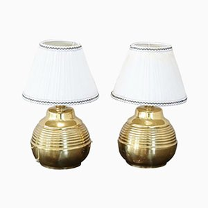 Vintage Golden Brass Table Lamps, 1980s, Set of 2