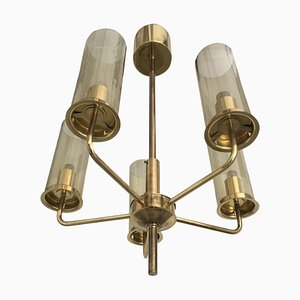 Lámpara de araña sueca Mid-Century de latón de Hans-Agne Jakobsson para AB Markaryd, años 70