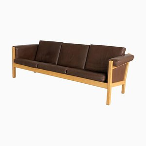 Danish Oak and Brown Leather 3-Seater Sofa by Hans J. Wegner for Getama, 1960s
