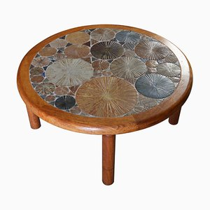 Mid-Century Round Oak Coffee Table with Ceramic Tiled Top by Tue Poulsen for Haslev Møbelsnedkeri, 1960s