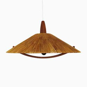 Large Raffia Pendant Ceiling Lamp from Temde, 1960s