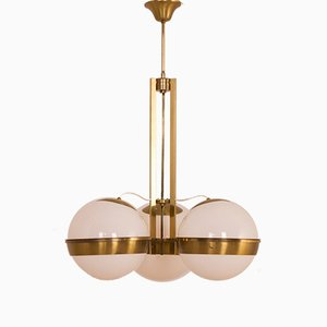 Italian Brass Chandelier with 3 Opaline Glass in the Style of Gino Sarfatti, 1960s