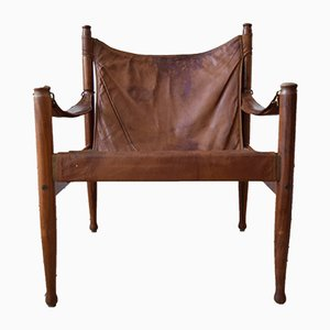 Mid-Century Cognac Safari Chair in Rosewood by Erik Wortz for Niels Eilersen, 1960s