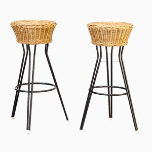 Wicker Stools from Rohé Noordwolde, 1960s, Set of 2