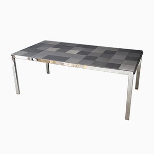 Vintage Stainless Grey Model Luar Op Dining Table by Ross Littell for ICF De Padova, 1970s
