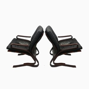 Leather Kengu Lounge Chairs by Elsa & Nordahl Solheim for Rybo Rykken & Co, 1970s, Set of 2