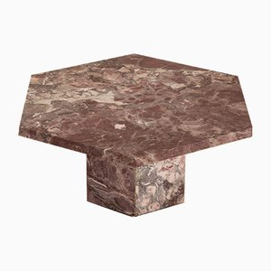 Mid-Century Italian Pink Marble Hexagonal Coffee Table