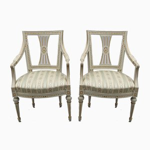 Gustavian Armchairs, 1880s, Set of 2
