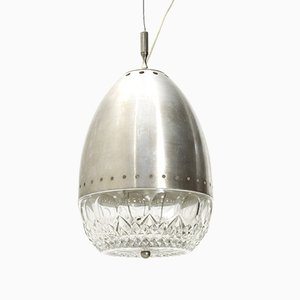 Italian Brushed Metal and Glass Pendant Lamp, 1960s