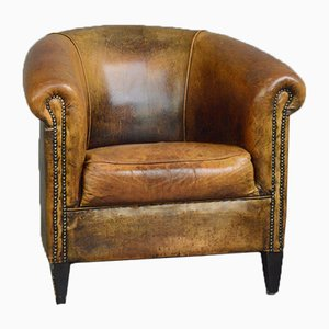 Dutch Sheepskin Leather Tub Chair, 1950s
