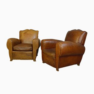 Leather Moustache Back Armchairs, 1930s, Set of 2