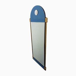 Großer Messingspiegel im Neoklassizistischen Stil mit Spiegelglas in Blau & Klarglas von Schöninger, 1970er