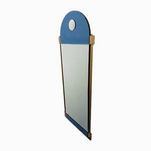 Large Neoclassical Style Brass Mirror with Blue & Clear Mirror Glass from Schöninger, 1970s