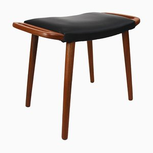 Danish Stool in Teak and Upholstered with Black Elegance Leather, 1960s