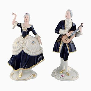 Rococo Couple in Hand-Painted Porcelain from Royal Dux, 1940s, Set of 2