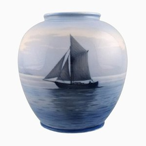 Vase in Hand-Painted Porcelain with Sailboat from Royal Copenhagen, 1930s