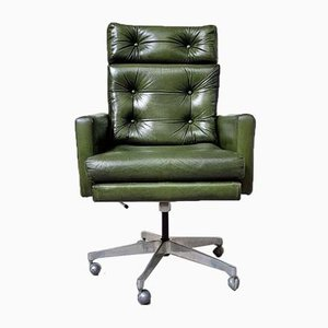Mid-Century Norwegian Leather Office Swivel Chair from Ring Mobelfabrikk