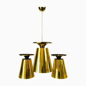 Polished Brass Pendant Lamps Attributed to Paavo Tynell, 1950s, Set of 3